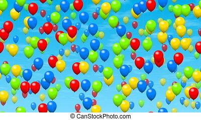 fête, vidéo, seamless, boucle, ballons