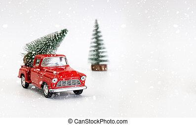 fête, vue., concept, arbre, miniature, porte, fond, sauver, delivery., cadeau, dos, voiture, sommet, space., noël blanc, rouges, trend., humeur