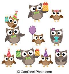 fêtede l'anniversaire, éléments, à, hiboux