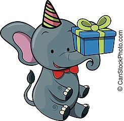 fêtede l'anniversaire, éléphant, utilisation