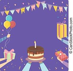 fêtede l'anniversaire, mains, cadre