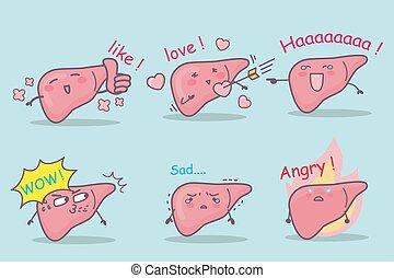 fígado, caricatura, jogo, cute