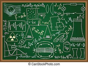 físico, doodles, y, ecuaciones, en, pizarra