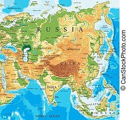 físico, mapa, de, asia