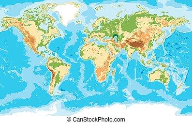 físico, mapa, de, el mundo