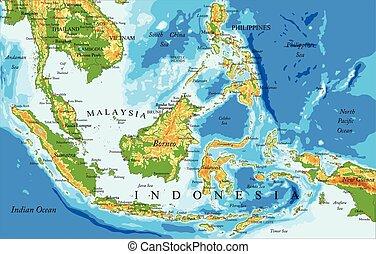 físico, mapa, indonesia