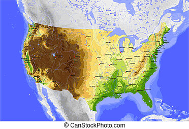 físico, mapa, vector, estados unidos de américa