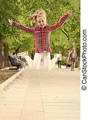 físico, saltar, niñez, al aire libre, park., juego, activo, ...