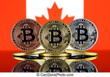 físico, versão, de, bitcoin, (btc), e, canadá, flag., imagem conceitual, para, investidores, em, alta tecnologia, (cryptocurrency, blockchain, tecnologia, esperto, contratos, ico).