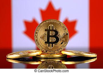 físico, versão, de, bitcoin, (new, virtual, money), e, canadá, flag., imagem conceitual, para, investidores, em, cryptocurrency, e, blockchain, tecnologia, em, canada.