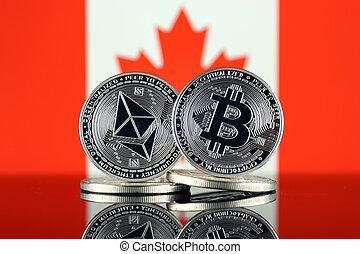 físico, versão, de, ethereum, (eth), bitcoin, (btc), e, canadá, flag., 2, maior, cryptocurrencies, em, termos, de, mercado, capitalization.
