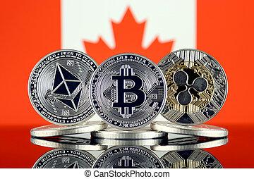 físico, versão, de, ethereum, (eth), bitcoin, (btc), ondulação, (xrp), e, canadá, flag., a, topo, 3, cryptocurrencies, por, mercado, cap.