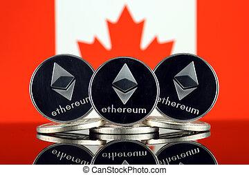físico, versão, de, ethereum, (eth), e, canadá, flag., imagem conceitual, para, investidores, em, cryptocurrency, blockchain, tecnologia, esperto, contratos, pessoal, tokens, e, inicial, moeda, offering.