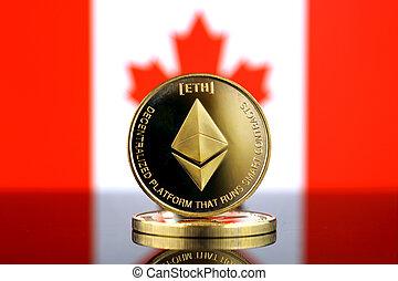 físico, versão, de, ethereum, (eth), novo, dinheiro virtual, e, canadá, flag., imagem conceitual, para, mundialmente, cryptocurrency, e, digital, pagamento, system., estúdio, tiro.