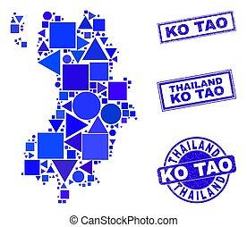 fókák, tao, térkép, kék, geometriai, kiütés, mózesi