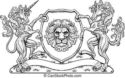 fóka, pajzs, fegyver, bőr, címer, ló, oroszlán, egyszarvú