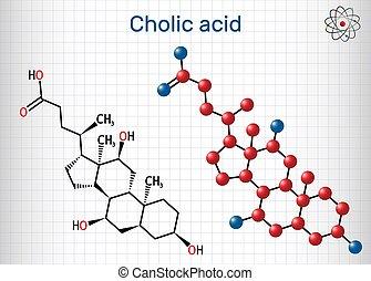 fórmula, bilis, primario, ácido, molécula, hoja, liver., producido, alimenticio, mayor, cholic, ácido, model., papel, e1000., él, estructural, c24h40o5, químico, suplemento, jaula, molecule.