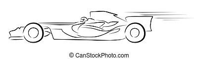 fórmula, carrera, ilustración, uno