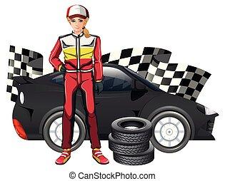 fórmula, coche, conductor, hembra, uno