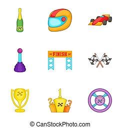 fórmula, estilo, campeonato, caricatura, conjunto, 1, iconos