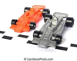 fórmula, f1, correndo carro, um