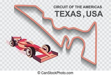 fórmula, magnífico, américa, pista, f1, unido, 1, prix, estados, carrera, o, estados unidos de américa