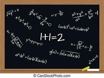fórmula, pizarra, matemáticas