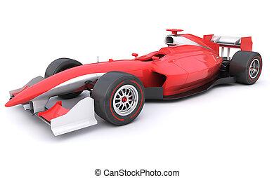 fórmula, raça, carro vermelho, projetado, sozinha