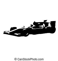 fórmula, vector, silueta, dibujo, coche