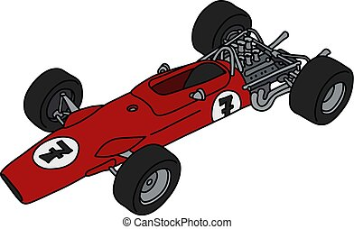 fórmula, viejo, coche rojo, uno