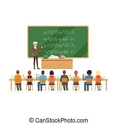 fórmulas, escola, grupo, estudantes, quadro-negro, professor, ilustração, alto, falando, vetorial, durante, educação, conferência universidade