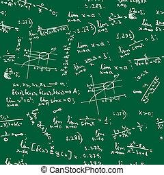 fórmulas, matemáticas, seamless, plano de fondo, pizarra