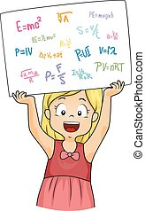 fórmulas, menina, física, tábua, criança