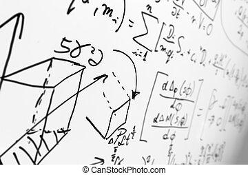 fórmulas, whiteboard, matemáticas, complejo