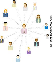 fórum, ügy emberek, /, közvetítő, hálózat, társadalmi, vagy, ikon