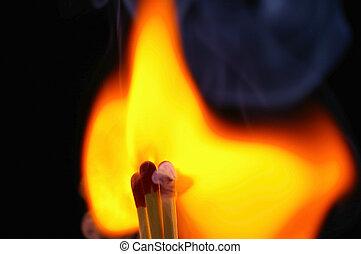 fósforos, 4, encendiendo