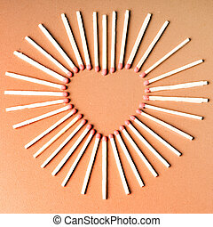 fósforos, forma corazón