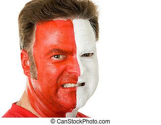 fôlatre ventilateur, dans, peinture visage