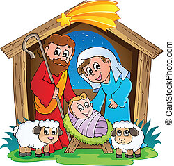 födelse, 2, jul scen