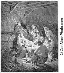 födelse, -, födelse, jesus