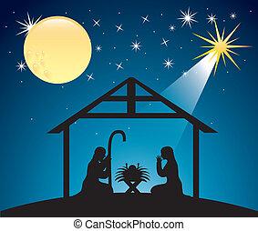 födelse, jul scen