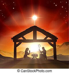 födelse, kristen, jul scen