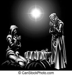 födelse scen, jul