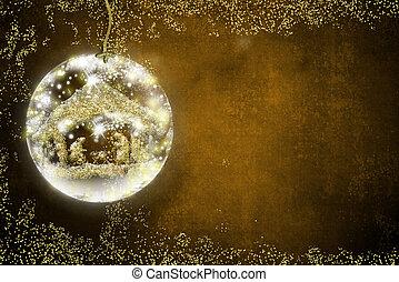 födelse scen, jul, kort.