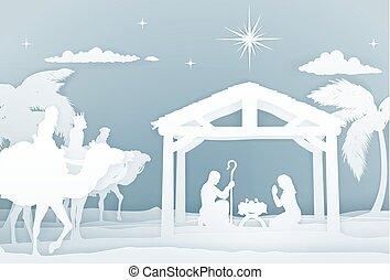 födelse, stil, jul, papercraft, scen