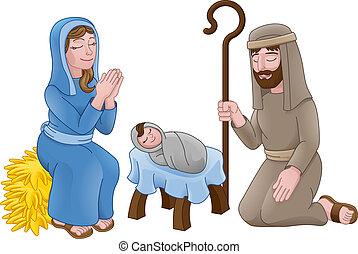 födelse, tecknad film, scen, jul