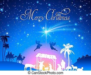 födelse, vektor, jul scen
