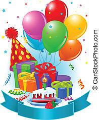 födelsedag, dekoration, gåvor