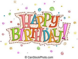 födelsedag, design, lycklig