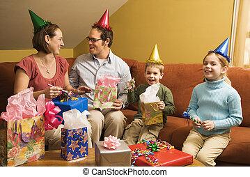 födelsedag, fest., familj